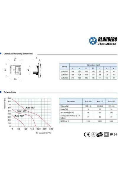 Blauberg Auto 100 H Nem Sensörlü Otomatik Panjurlu Banyo Fanı