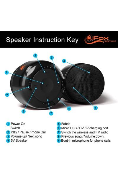 iFox FM Radyolu Mini Bluetooth Hoparlör Siyah