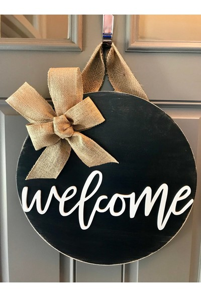 Enissimo Ahşap Kapı Süsü Welcome Çelenk Siyah