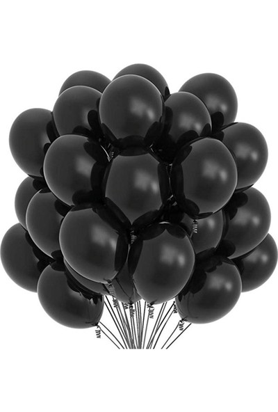 Tuğra Siyah Düz Renk Latex Balon 25'li