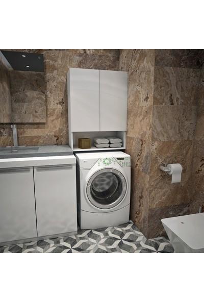 Rafvraf Çok Amaçlı Çamaşır Makinesi Üst Banyo Dolabı Beyaz