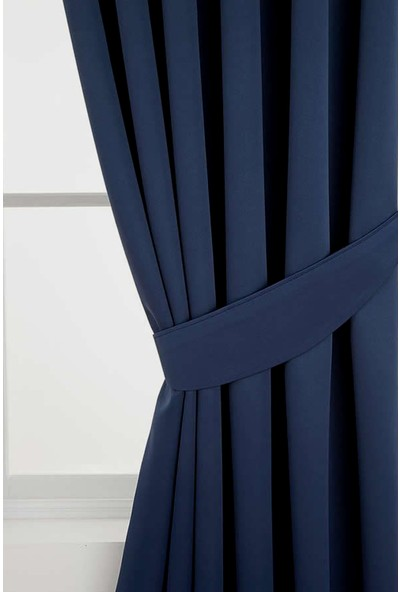 Belle Cose Blackout Karartma Lacivert Fon Perde 80 x 250 cm Tek Kanat
