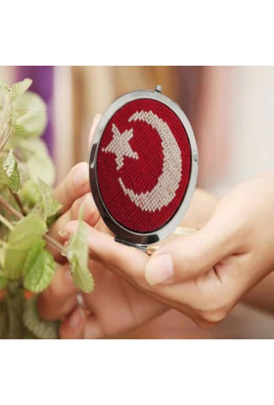 Nuh Home Makyaj Aynası Bayrak Desenli El Yapımı Küçük Çanta Aynası