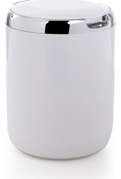 Primanova Tezgah Üstü Plastik Kapaklı Çöp Kovası 3 lt Beyaz M-E29-01-P