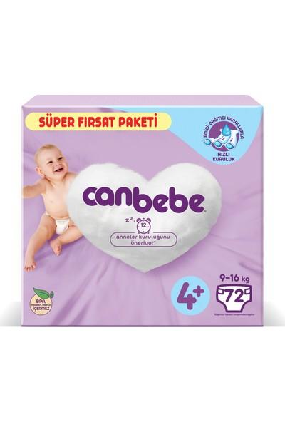Canbebe Bebek Bezi Süper Fırsat Paketi 4+ Beden 72'li