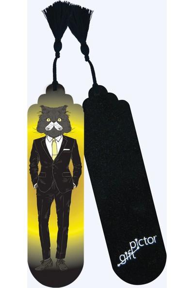 Pictor Gift Metal Püsküllü Mr. Chic Kedili Kitap Ayracı Seti 4'lü