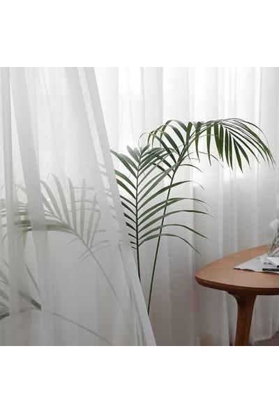 Fiona Düz Tül Perde 200 x 250 cm Kullanıma Hazır Pilesiz Beyaz