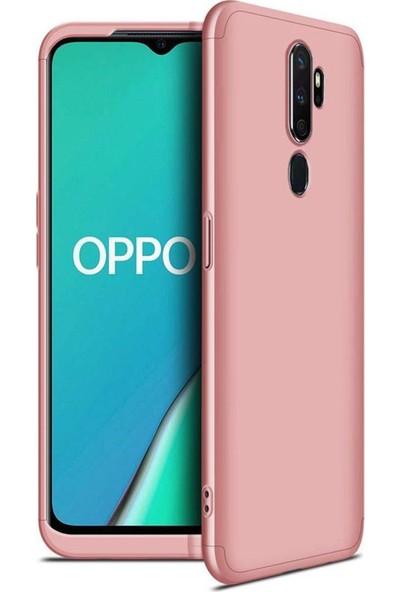 Kılıfist Oppo A5 2020 Kılıf Zore 360 Tam Koruma 3 Parça Ays Kapak Rose Gold