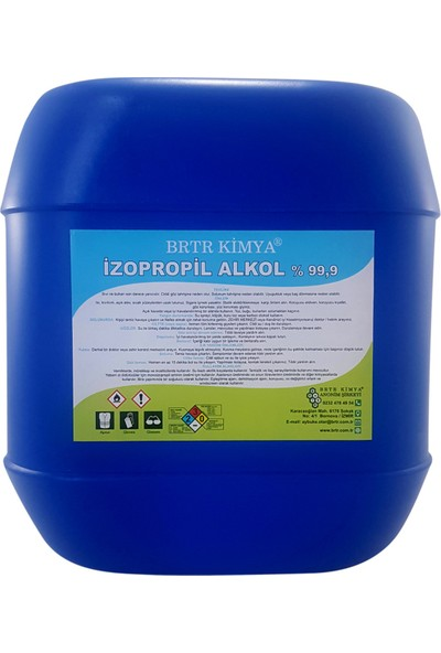 Brtr kimya 20Lt İZOPROPİL ALKOL (İPA) %99,9 TEMİZLİK SOLVENTİ