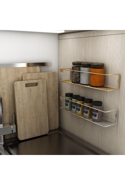 Bino Düzenleyici Mutfak Banyo Makyaj Rafı Tekli Gold