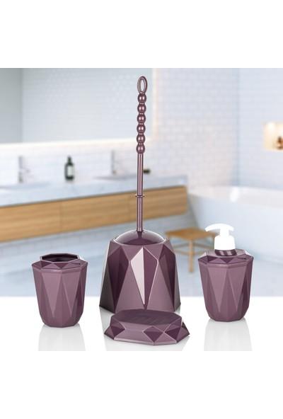 Kaya Store Kristal Desen Lüx 4'lü Banyo Aksesuar Seti Mor