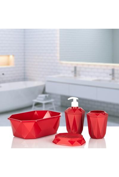 Kaya Store Kristal Desen Lüx 4'lü Sepetli Banyo Aksesuar Seti Kırmızı
