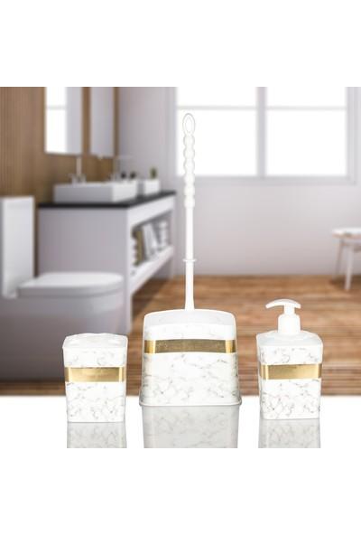 Kaya Store Lüx Mermer Desenli 3'lü Banyo Seti Beyaz