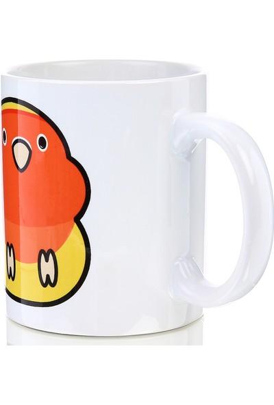 Kuş Arkadaşım Cennet Papağanı Kupa Arkası Desensiz Sarı - Kırmızı