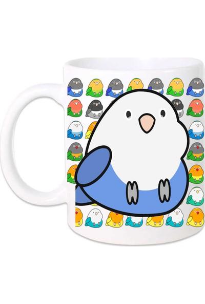 Kuş Arkadaşım Cennet Papağanı Kupa Arkası Desenli Beyaz - Mavi