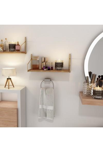 Bino Duvar Rafı Dekoratif Kitaplık Mutfak Banyo Altın Renk 2'li Set