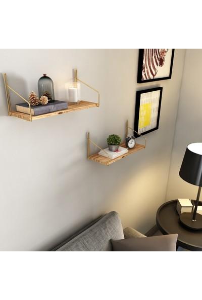 Bino Duvar Rafı Dekoratif Kitaplık Mutfak Banyo Altın Renk 3'lü Set