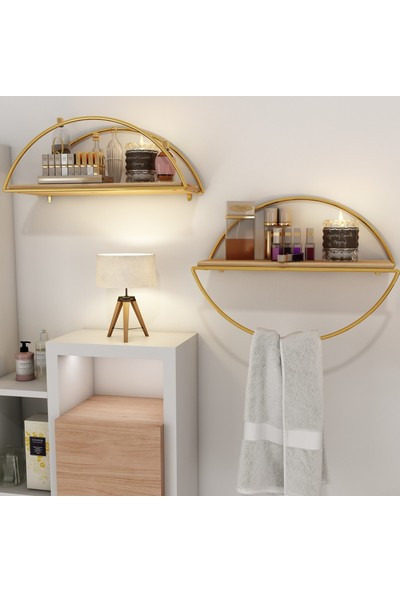 Bino Duvar Rafı Dekoratif Kitaplık Mutfak Banyo Altın Renk Elips 2'li Set