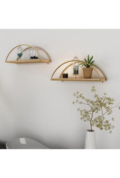 Bino Duvar Rafı Dekoratif Kitaplık Mutfak Banyo Altın Renk Elips 3'lü Set