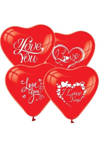 Acar Süs I Love You Baskıı Kırmızı Kalp Balon 12 Inch 30'lu