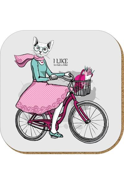 Pictor Gift Hediyelik Metal Mantar Tabanlı I Like To Ride A Bike Kedili 4'lü Bardak Altlığı Seti