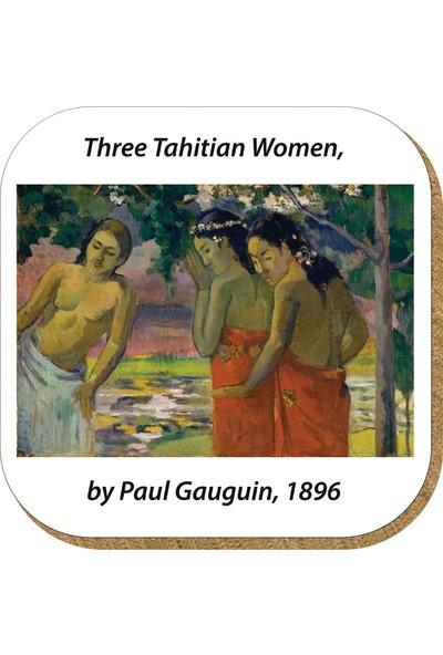 Pictor Gift Hediyelik Metal Mantar Tabanlı Paul Gauguin 4'lü Bardak Altlığı Seti