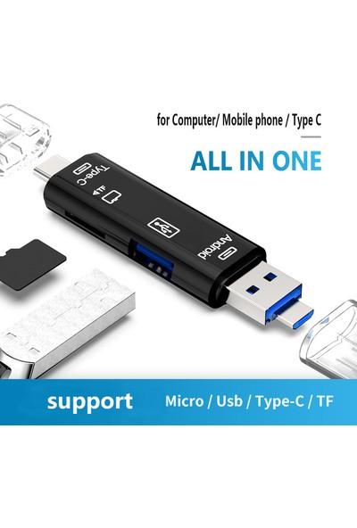 Type-C / Micro USB / Tf 3in1 Kart Okuyucu Telefon Bilgisayar