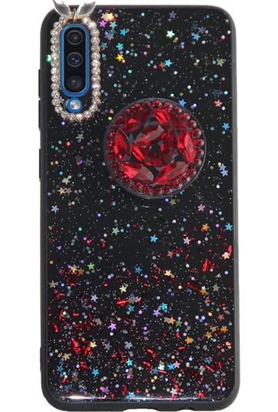 Markaavm Samsung Galaxy A50 Yıldızlı Pop Socketli Silikon Kılıf