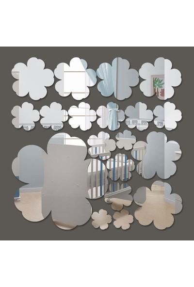 Dez Mini Çiçekler Dekoratif Akrilik Ayna 19 Parça