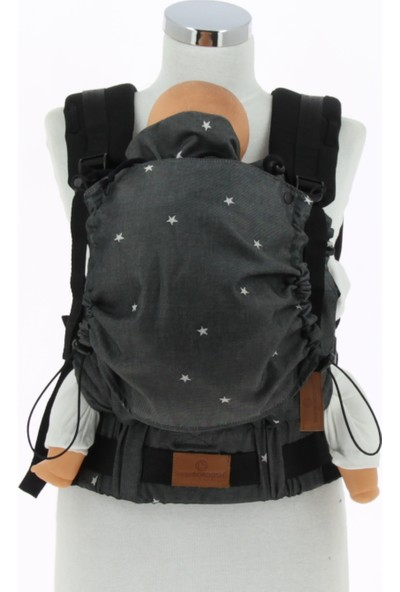New Age Bebekle Büyüyen %100 Pamuklu Ergonomik Bebek Kanguru (0-4 Yaş) - STARS BLACK