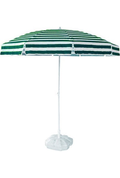 Tevalli Plaj Balkon Bahçe Şemsiyesi 1,8 Metre + 20LT Bidon Yeşil