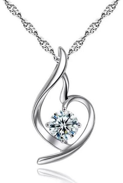 Enes Store Gümüş Zirkon Taşlı Melek Kalbi Kolye