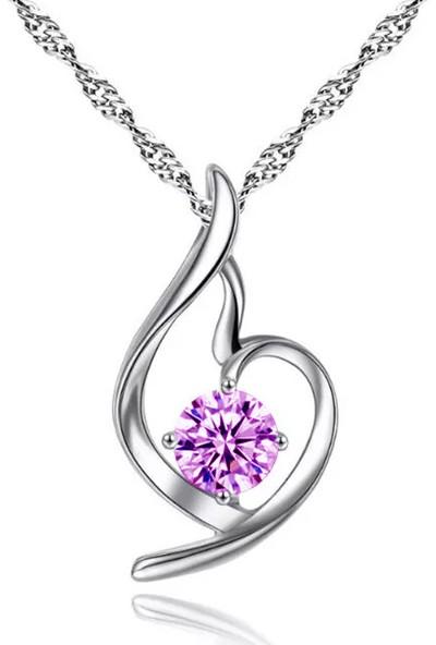 Enes Store Gümüş Zirkon Taşlı Melek Kalbi Kalp Kolye