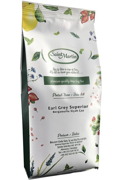 Saint Martin Earl Grey Superior Dökme Çay 250 gr