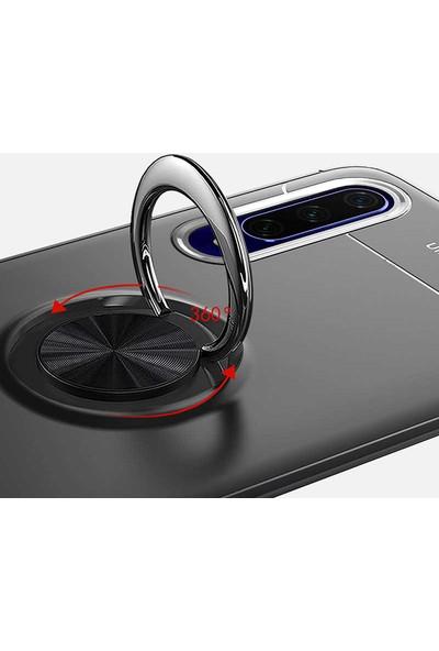 Tekno Grup Samsung Galaxy J8 Kılıf Ultra Korumalı Yüzüklü Manyetik Ravel Silikon Lacivert + Cam Ekran Koruyucu