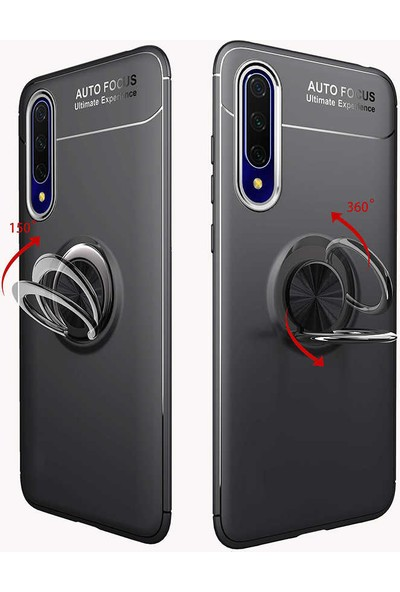 Tekno Grup Xiaomi Mi A3 Kılıf Ultra Korumalı Yüzüklü Manyetik Ravel Silikon Siyah + Tam Kaplayan 5D Cam Ekran Koruyucu