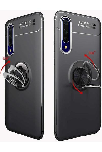 Tekno Grup Huawei P Smart Pro 2019 Kılıf Ultra Korumalı Yüzüklü Manyetik Ravel Silikon Lacivert + Tam Kaplayan 6D Nano Ekran Koruyucu