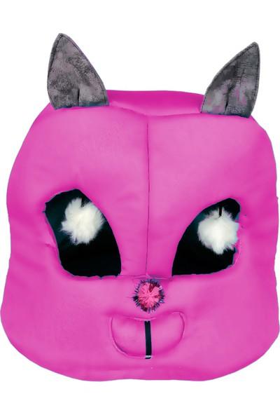 Flipper Kedi Kafası Şekilli Kedi Yatağı 45 cm Koyu Pembe