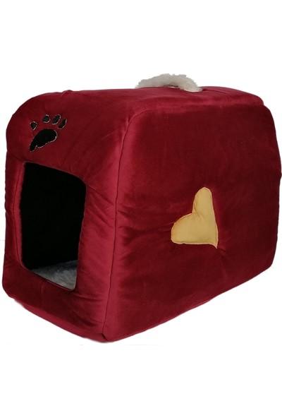 Flipper Kedi Köpek Yatağı Kalpli Çanta Model 35 x 55 cm Bordo