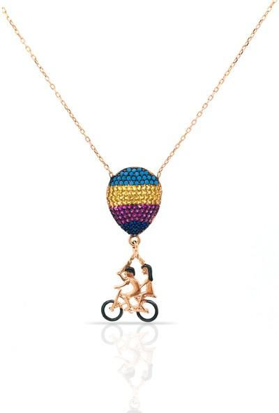 Istiklal Kuyumculuk Bisikletli 3D Balonlu Çift Kolye Rose Gold 925 Ayar Gümüş