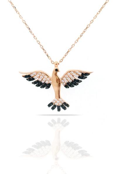 Istiklal Kuyumculuk Anka Kuşu Kolye Rose Gold Onix Zirkon Taş 925 Ayar Gümüş