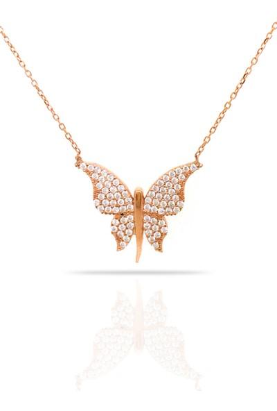 Istiklal Kuyumculuk Büyük Şık Tasarım Kelebek Kolye Rose Gold Altın 925 Ayar Gümüş