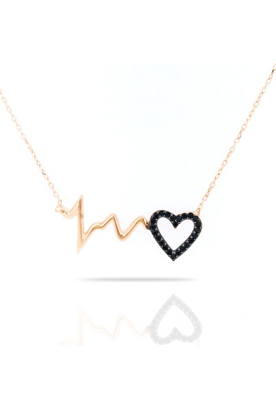 Istiklal Kuyumculuk Kalp Atışı Kolye Rose Gold Onix Taş 925 Ayar Gümüş