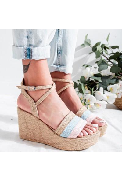 Limoya Della Pudra Bebe-Mavi Hasır Dolgu Topuklu Bilekten Çapraz Detaylı Sandalet