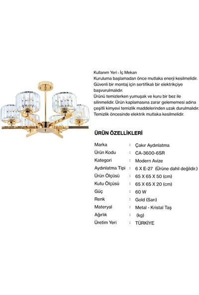 Çakır Aydınlatma Venüs 6 Kollu Kristal Taşlı Sarı Gold Sarkıt Avize