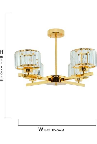 Çakır Aydınlatma Venüs 4 Kollu Kristal Taşlı Sarı Gold Sarkıt Avize