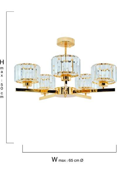 Çakır Aydınlatma Venüs 5 Kollu Kristal Taşlı Sarı Gold Sarkıt Avize