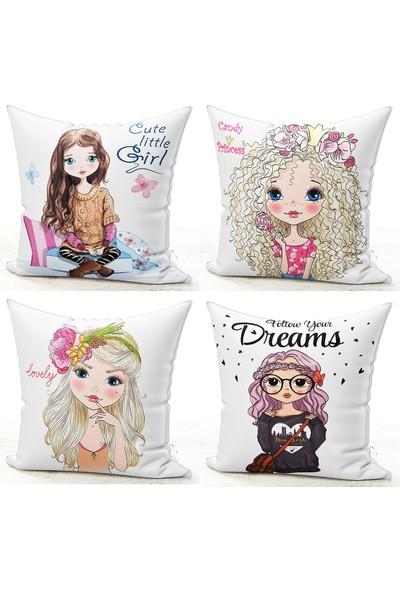 Bk Home Dekor Dekoratif Fashion Girl 4'lü Kırlent Kılıf Set 34