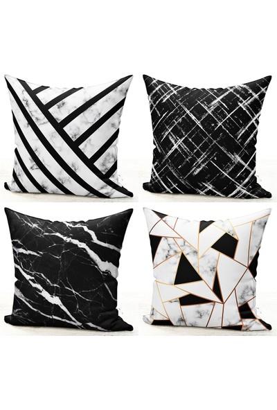 Bk Home Dekor Modern Siyah Beyaz Mermer Desen 4'lü Kırlent Kılıf Set 39