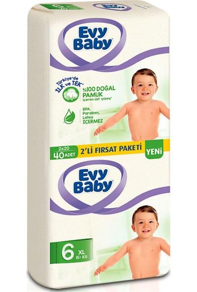 Evy Baby Bebek Bezi 6 Beden Ekstra Large 2'li Fırsat Paketi 40 Adet
